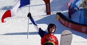 Delerue of France celebrates during the final of the snowboard cross competition in Bardonecchia